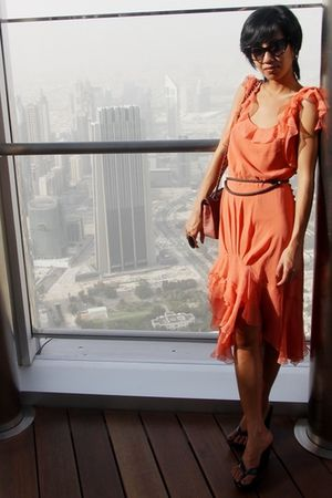 orange chiffon dress John Galliano - black Tom Ford - Zara belt