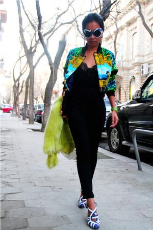 ivory raffia Prada shoes - green Versace for H&M jacket
