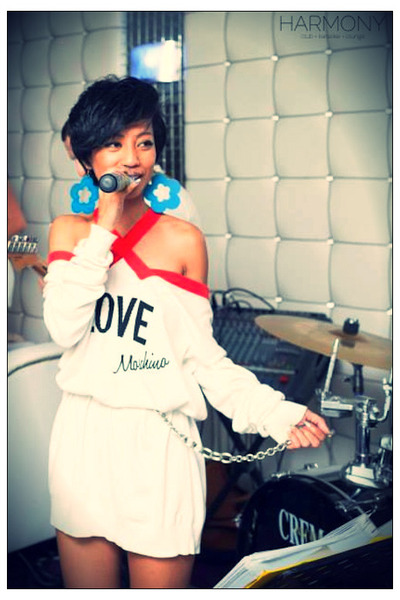 white love Moschino dress - blue wooden diy earrings