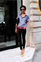heather gray Diddys shirt - yellow Mango shoes - black skinny Mango jeans
