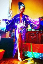 silver chain Dolce & Gabbana belt - amethyst kimono vintage dress
