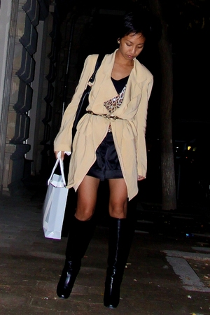 beige dress donna karan coat - black Marc Jacobs boots - black Mango shirt