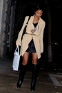 Beige-donna-karan-coat-black-mango-shirt-mango-cardigan-black-mango-shorts