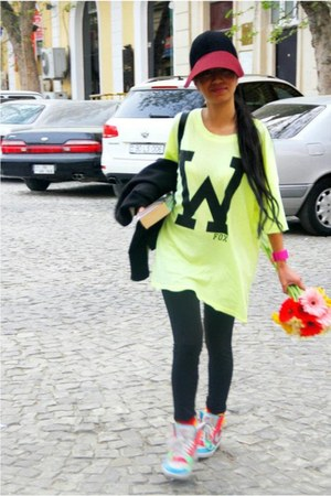 hot pink neon Plastic watch - ruby red Miu Miu hat - black Zara leggings