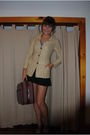 Beige-shoes-black-skirt-red-bag-yellow-coat-blue-top