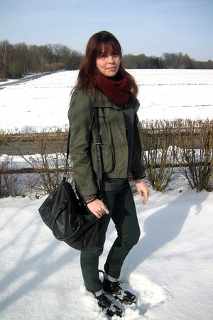 black boots - army green jacket - crimson scarf - charcoal gray sweatshirt