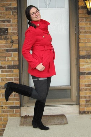 red BB Dakota coat - black boots - dark gray f21 shorts