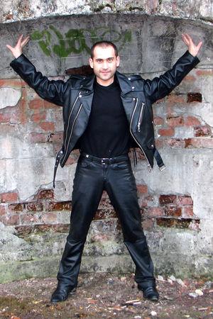black random jacket - black random jeans - black random belt