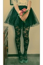 black lace tights romwe tights - green H&M skirt