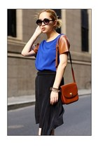 burnt orange romwe bag - blue romwe t-shirt