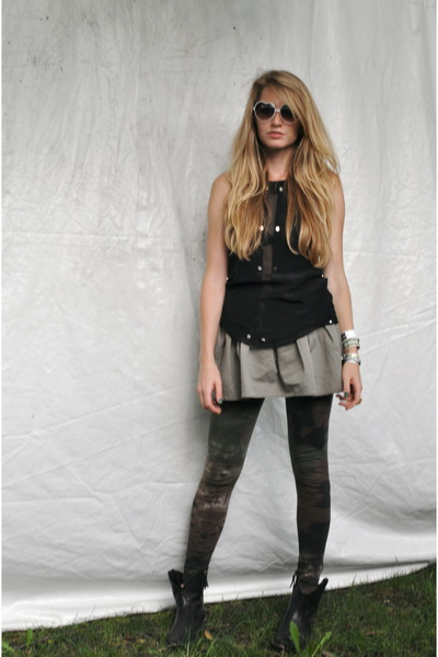 black Vena Cava top - green LGB leggings - green Hache skirt - black Golden Goos