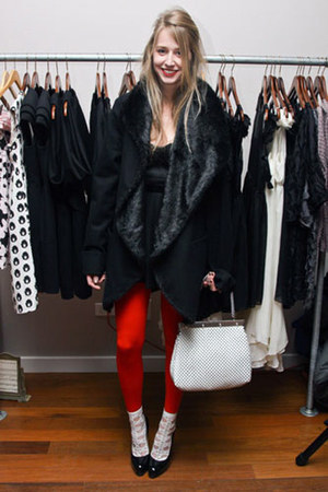 black Elizabeth &amp; James coat - red Wolford tights - white vintage bag Whiting &amp; 