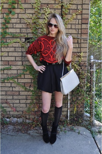 Diane Von Furstenburg sweater - surface to air skirt - house of harlow boots - W
