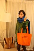 my other bag is bag - The Kooples dress - green fraux fur jacket - scarf scarf