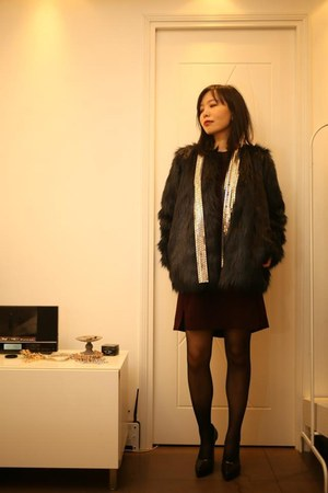 fake fur jacket - The Kooples dress - MMM for H&M scarf - Marni heels