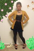 gold Rodarte for Target cardigan - blue free people dress - brown thrifted belt