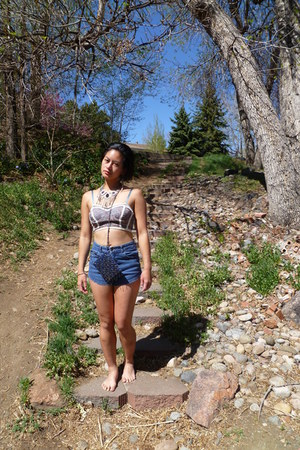 navy beaded bag - blue vintage shorts - bustier Urban Outfitters top