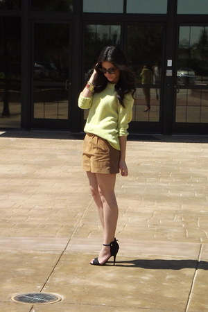tan suede Forever 21 skirt - Express sweater - Zara heels