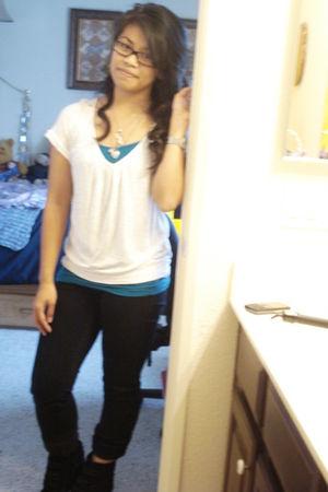 white Forever 21 blouse - blue Aeropostale shirt - black Forever 21 pants - silv