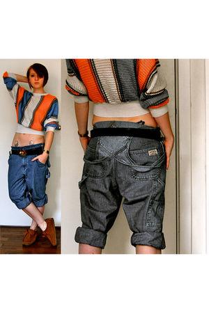 blue vintage pants - orange vintage top - brown Office shoes - brown Camden Mark
