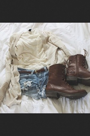 ivory shirt - brown boots - sky blue ripped jean shorts - ivory knit cardigan