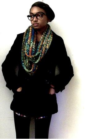 Forever21 jacket - scarf - leggings - UO glasses