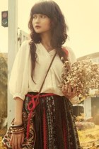 brocade skirt - ivory blouse