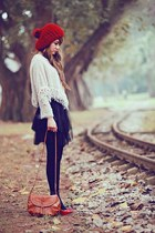ruby red sweater hat - black tights - burnt orange bag - black chiffon skirt