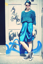 teal sweater - turquoise blue skirt - sneakers