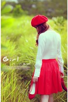 red beret hat - white blouse - red skirt - red flats