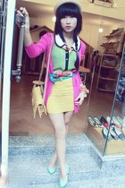 light yellow bag - beige hat - hot pink cardigan - light yellow skirt