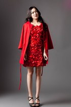 red romantic dress - red coat