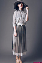 neutral shoes - heather gray hat - silver blouse - heather gray skirt