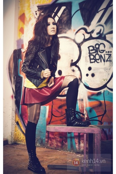 magenta leather skirt - black boots - dark gray leather jacket blazer