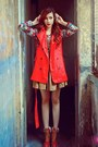 Tawny-ankle-boots-boots-red-coat-pattern-sweater-camel-khaki-skirt