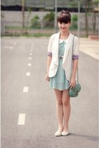 light blue dress - white blazer - lime green bag - white flats