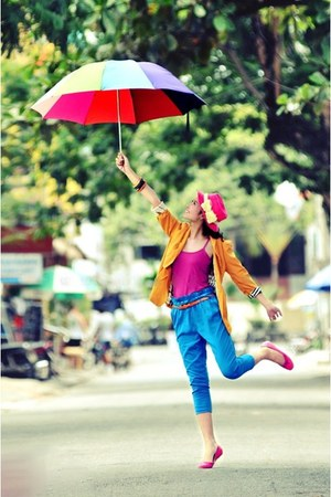 hot pink top - bubble gum hat - orange blazer - hot pink flats - blue pants