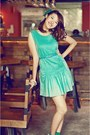 Aquamarine-dress-aquamarine-socks-white-wedges-sky-blue-belt