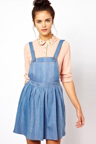 sky blue dress - neutral shirt