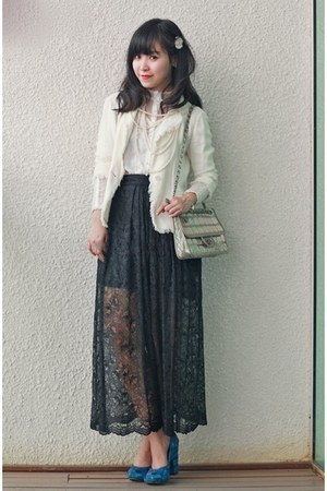 black lace dress skirt - shoes - white blazer - vintage bag