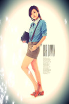brown shorts - sky blue denim blouse - burnt orange oxfords loafers