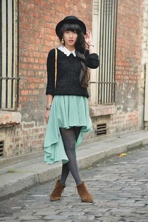 aquamarine mullet skirt - bronze boots - black hat - black sweater - white shirt