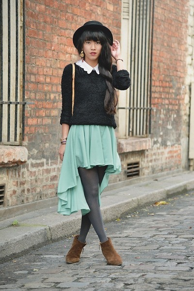 aquamarine mullet skirt - bronze boots - black hat - black sweater - white shirt
