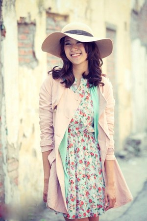 light pink pastel coat - floral dress - off white hat - sky blue cardigan