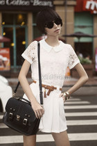 dark gray chic sunglasses - dark gray classic bag - bronze belt - ivory skirt