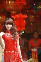 red ao dai dress