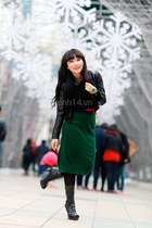 black boots - black blazer - dark green skirt - black sweatshirt - red belt