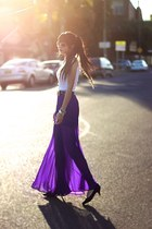 white top - deep purple skirt