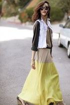 light yellow dress - tan shoes - gray shirt