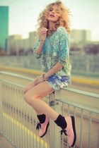 light pink shoes - violet shorts - sky blue metallic blouse
